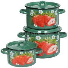 <b>Набор эмалированной посуды</b> СтальЭмаль Клубника садовая ...