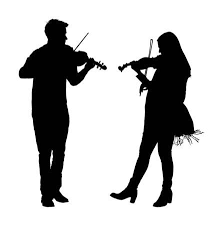 Young Man And <b>Woman</b> Playing <b>Violin</b> In Duet Vector Silhouette ...