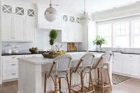 update kitchen lighting glass and chrome pendant lights in an all white kitchen with french bistro brookside kitchen lighting
