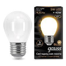 Светодиодная <b>лампа Gauss LED Filament</b> Globe OPAL E27 5W ...