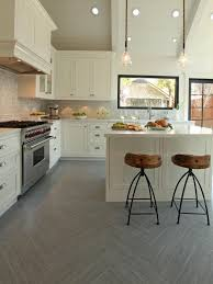 Kitchens Floor Tiles Alluring Sleek White Ceramic Floor Tile For Contemporary Kitchen