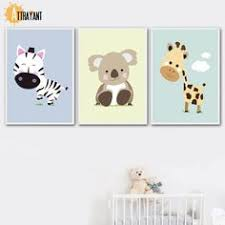 Funny <b>Woodland Animals</b> Wall Art <b>Canvas</b> Painting Colorful <b>Cartoon</b> ...