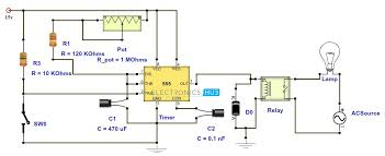 adjustable timer circuit diagram relay output 555 timer