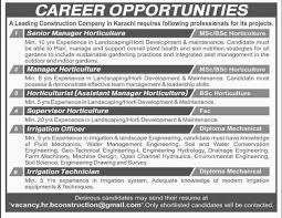 jobs in construction company published in dawn newspaper on 26 construction company