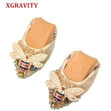 XGRAVITY Plus Size Designer <b>Crystal Woman Flat</b> Shoes Elegant ...