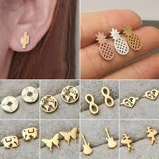 <b>Fashion Women's Girl Stainless</b> Steel Earrings Cute Gold Ear Stud ...