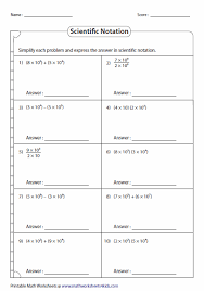 Scientific Notation WorksheetsMath Operations in Scientific Notation