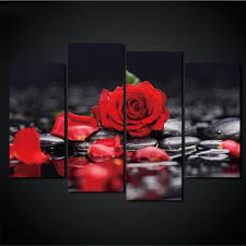 Home Decor Modular Painting <b>Wall Art</b> Pictures 4 Pieces Red Rose ...