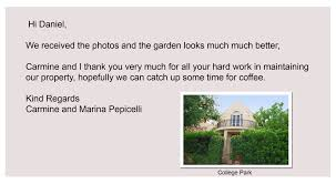 walter irvine client testimonials the real estate agent carmine and i thank you very much for all your hard work in maintaining our property