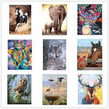 Online Shop RIHE <b>Frame</b> Animal <b>DIY Painting</b> By Numbers Acrylic ...