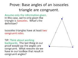 proofs math as a language english  math  words  numbers  prove base angles of an isosceles triangle are congruent assume only the information given