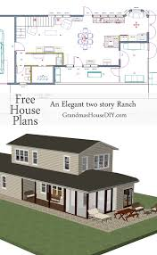 Free House Plan  An Elegant two story ranch   Grandmas House DIYFree house plan of an elegant two story ranch  square feet
