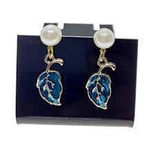 Buy dark blue color <b>korean</b> handmade pearl <b>sweet</b> leaf love enamel ...