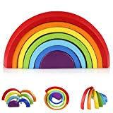 B Blesiya <b>Wooden Rainbow</b> Stacking <b>Blocks</b> (<b>12pcs</b>) Educational ...