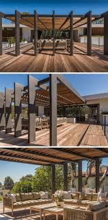 modern patio set outdoor decor inspiration wooden: this large pergola has enough space for a large outdoor lounge and dining area