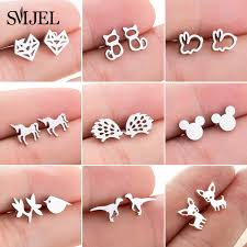 SMJEL <b>Stainless Steel</b> Mickey <b>Stud</b> Earrings for Women Girls ...
