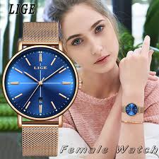 <b>2019 Lige New Rose</b> Gold Blue Table Womens Business Quartz ...