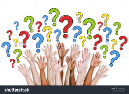 diversity hands raised question marks stock photo  diversity of hands raised and question marks