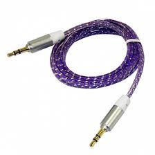 <b>Кабель AUX</b> (<b>3,5 mm jack</b>) силиконовый фиолетовый