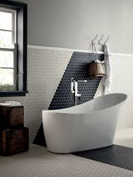 unique hexagonal wall tiles for small bathroom remodel ideas with elegant oval shaped tub and grey