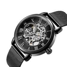 MGORKINA <b>Men Luxury Skeleton</b> Stainless Steel Military Sport ...