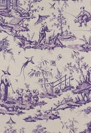 decor linen fabric multiuse: schumacher chinoiserie asian toile cotton linen fabric  yards blue taupe collectibles linens amp textiles fabric ebay