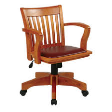 office star products wood bankers chair with brown vinyl padded seat fruitwood office chair mid century office