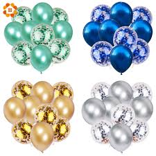 <b>10Pcs 12inch Metallic</b> Colors <b>Latex</b> Balloons Confetti Air Balloons ...