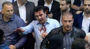 Image result for زد و خورد شدید در پارلمان مقدونیه 8 نفر راهی بیمارستان شدند