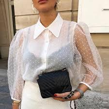 <b>Transparent</b> Short Latern Sleeve <b>Women</b> Shirt Sex Solid Dot Lace ...