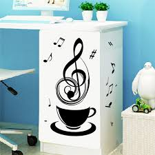 relaxing music tea coffee cup black diy wall stickers public office store kitchen decorative home decal aliexpresscom buy office decoration diy wall