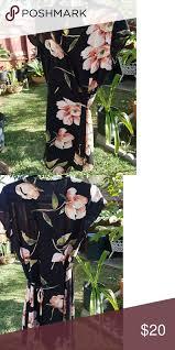 Wrap <b>Summer</b> Dress <b>Black</b> with <b>peach</b> colored flower print. <b>Short</b> ...