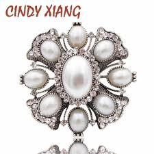 <b>CINDY XIANG</b> Simulated Pearl Cross Brooches for Women White ...