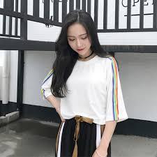 Casual <b>Women</b> T-shirts <b>Cute Rainbow Striped</b> Side Black White ...