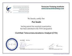 telecommunications certification organization telecommunications sample certificate middot certification package what you get