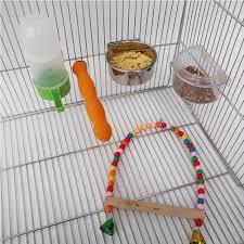 <b>5 Pcs Pet Parrot</b> Bird Cage Accessories Set Kit Natural Wood Parrot ...