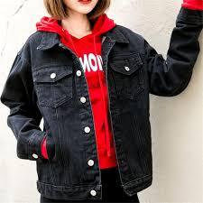 <b>Harajuku Women Denim</b> Jacket Black Loose Coat <b>Casual</b> Vintage ...
