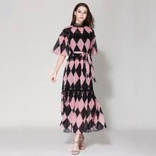 <b>Платье в клеточку</b> с поясом A314, розовое кружевное платье с ...