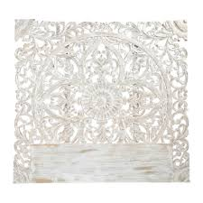 carved solid mango wood headboard in white with distressed finish w 160cm carved solid mango wood