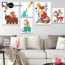 Online Shop Nordic <b>Art Cartoon Bear</b> Elephant Tiger Minimalism ...