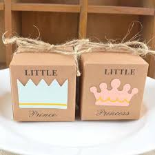 <b>50PCS</b>/lot <b>Little Prince Princess</b> Brown Kraft Paper Gift Box Baby ...