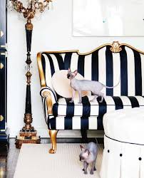 chic living room features black and white striped sofa accented with gold trim paired with round white tufted ottoman over cream rug black and white striped furniture