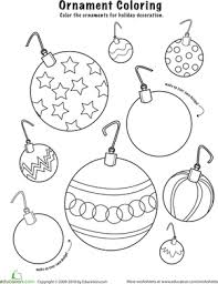 Christmas Ornaments to Color | Coloring Page | Education.comChristmas Kindergarten Holiday Worksheets: Christmas Ornaments to Color
