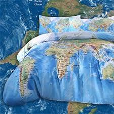 Sleepwish World <b>Map Bedding</b> Vivid Printed <b>Map</b> Duvet <b>Set</b>