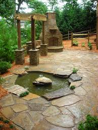 diy patio pond: fascinating patio created on stone flooring enhanced with small interior home ponds placed near home