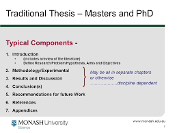 www monash edu au   Traditional Thesis     Masters and PhD Typical Components SlidePlayer