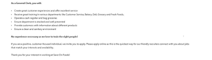 job posting httpwwwsaveonfoodsjobscomjobs3956201 part time grocery clerk save on foods lynn valley 60 job seeking cover letter