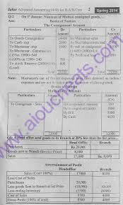 advance accounting code 444 b com solved assignment no 1 spring 2014 aiou code 444 solved assignment spring 2014