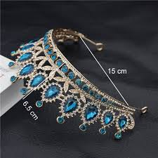 Baroque Vintage Blue Crystal Bride <b>Crown</b> Women <b>Headdress</b>