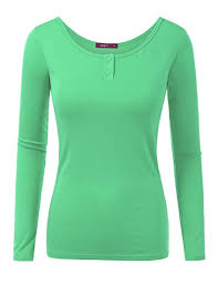 Doublju Women <b>Stylish Round Neck Long</b> Sleeve T-Shirt MINT,M ...